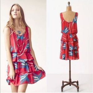 Anthropologie  red floral print ruffle dress 2